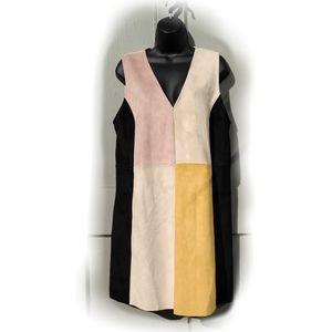 Zara multicolored suede dress
